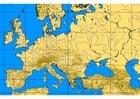 Afbeelding Europa met hoogtelijnen en rivieren