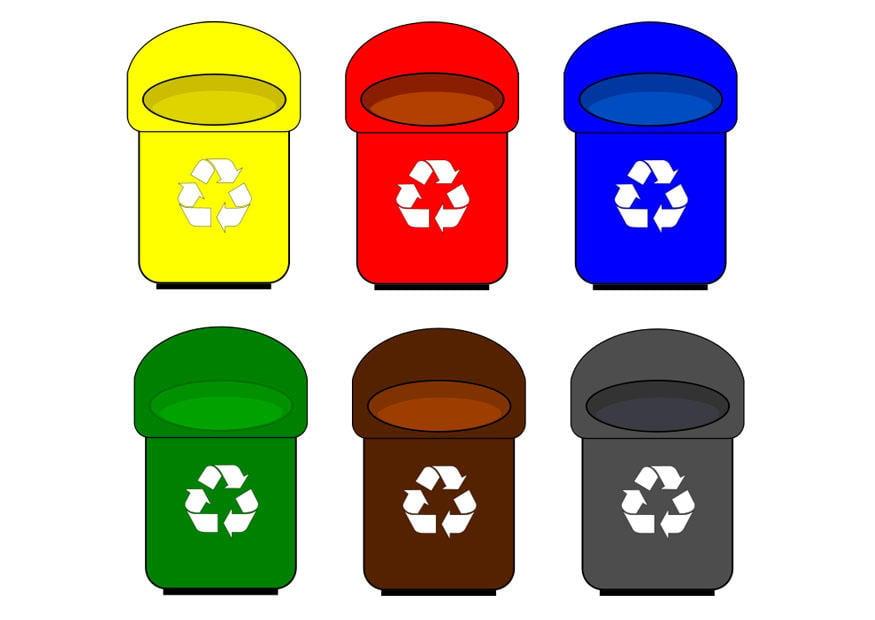 Afbeelding prent afvalbakken afb 27878 - Contenedores de basura para reciclaje ...