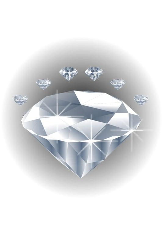 Afbeelding prent edelsteen diamant afb 28608 - Diamant dessin ...