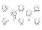 Kleurplaat emoties - onderwijzeres