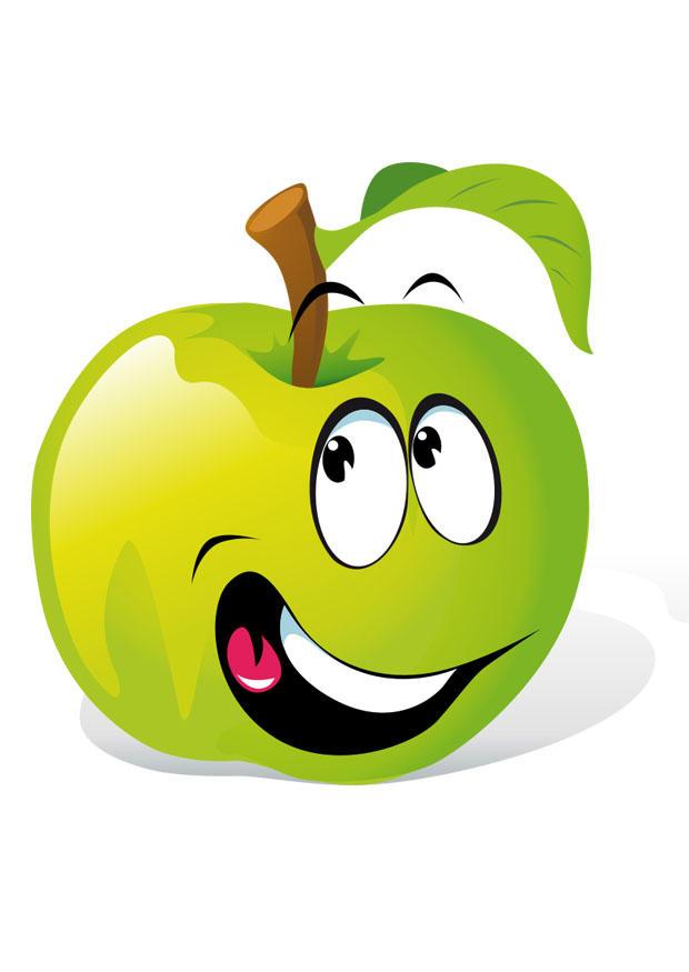 Cute Green Apple Cartoon