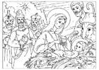 Kleurplaat geboorte van Christus