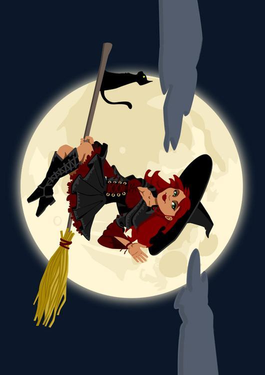 Afbeelding Prent Halloween Heks Afb 22969