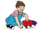 jongen met auto