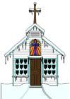 Afbeelding kerk in de winter