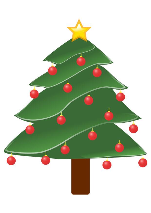 Afbeelding Prent Kerstboom Met Kerstballen Afb 20786