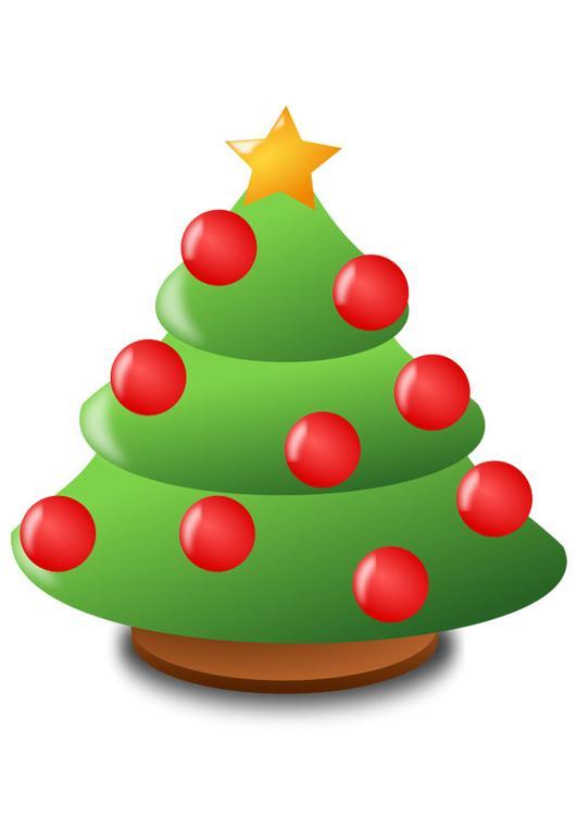 Afbeelding Prent Kerstboom Met Kerstballen Afb 20586