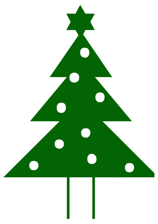 afbeelding prent kerstboom met kerstster afb 20395