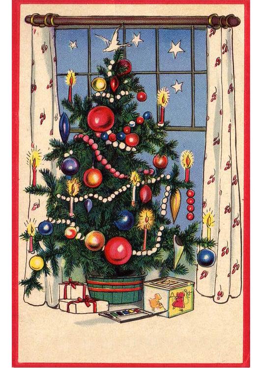 Afbeelding Prent Kerstboom Met Pakjes Afb 20397 Images