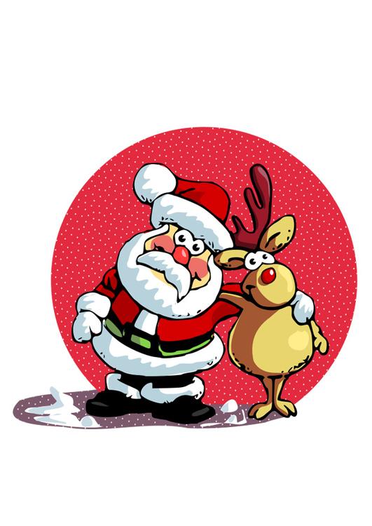 Afbeelding Prent Kerstman En Rendier Afb 29558