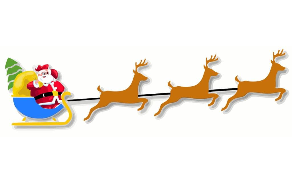 Afbeelding Prent Kerstman Met Slee Afb 20458
