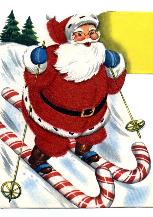 Afbeelding Prent Kerstman Op Ski S Afb 20434