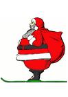 Afbeelding kerstman op ski's