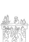 Kleurplaat kerstversiering met kerstsok