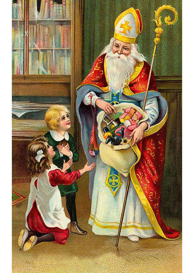 Afbeelding Prent Kinderen Bij Sinterklaas Afb 20386