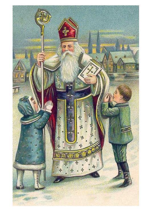 Afbeelding Prent Kinderen Bij Sinterklaas Afb 20384