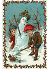 Afbeelding kinderen maken sneeuwman