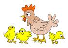Afbeelding kip met kuikens