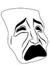 Kleurplaat masker - huilen