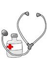 Afbeelding medicijn en stethoscoop