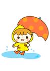 Afbeelding meisje in waterplas