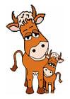 Afbeelding moeder koe en kalf