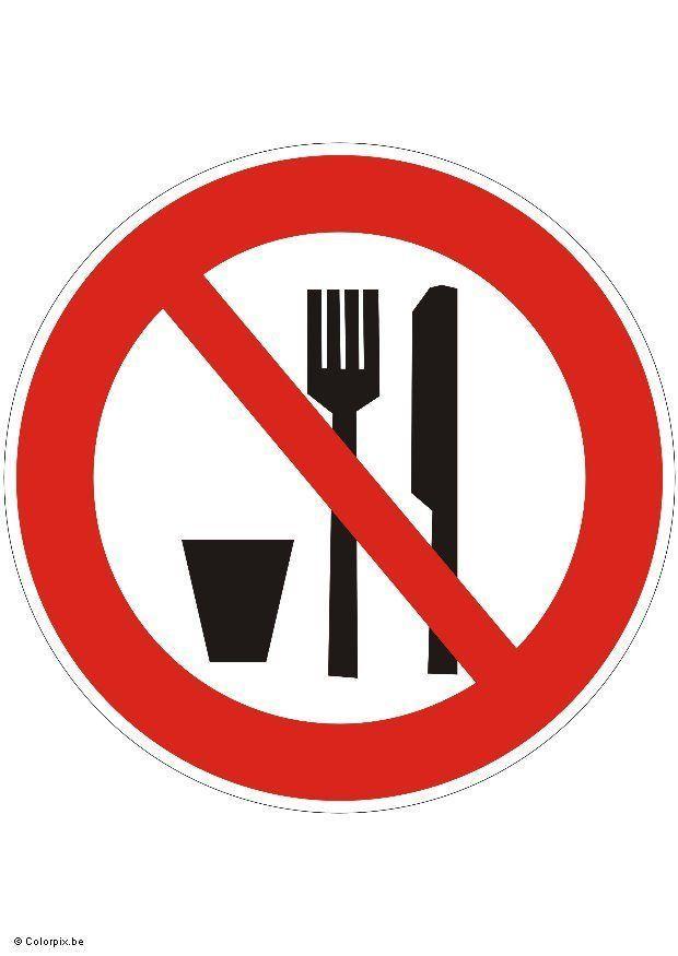 Afbeelding Prent Niet Eten Of Drinken Afb 5422