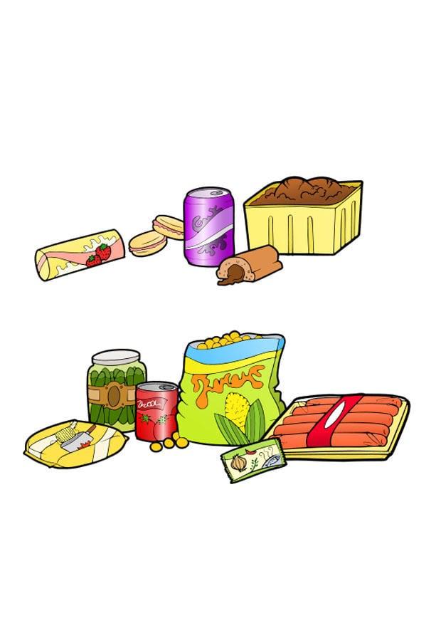 afbeelding prent ongezonde en gezonde voeding afb 22808