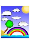 Afbeelding regenboog landschap