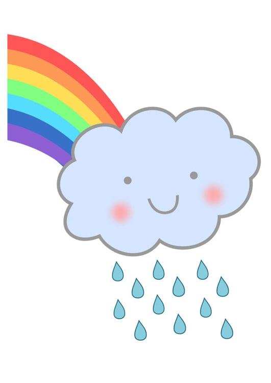 Afbeelding Prent Regenboog Met Regen Afb 27575