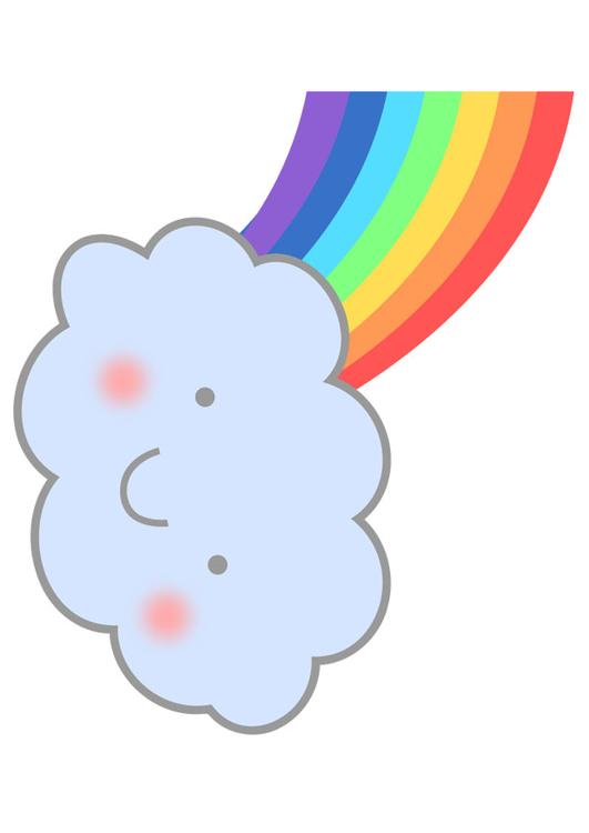 Afbeelding Prent Regenboog Met Wolk Afb 27574