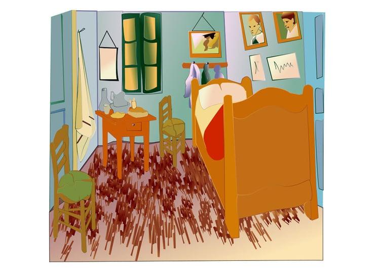 Afbeelding - prent Vincent Van Gogh - de slaapkamer - Afb 27991