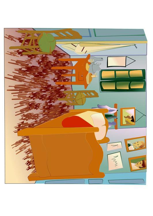 Afbeelding - prent Vincent Van Gogh - de slaapkamer - Afb 28043