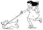 Kleurplaat wandelen met hond