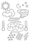 Kleurplaat weer symbolen