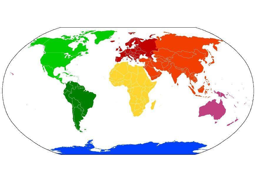 afbeelding - prent wereldkaart continenten