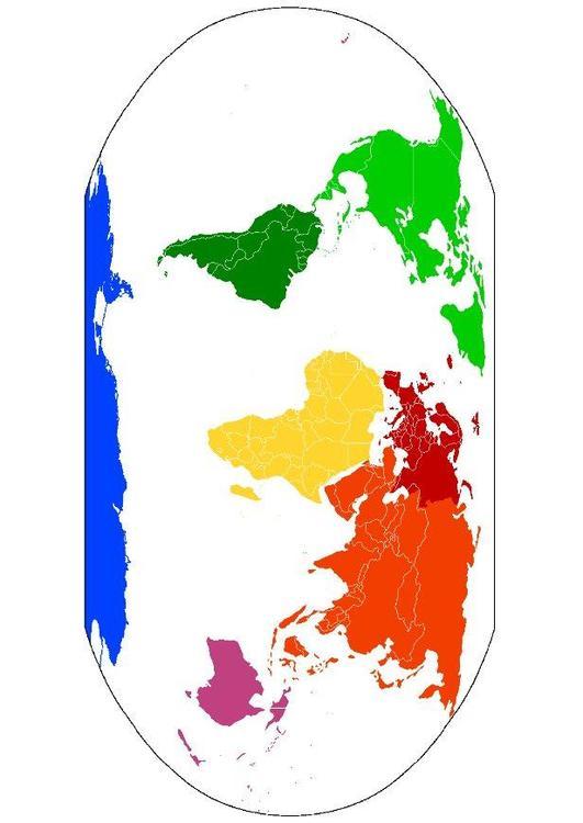Afbeelding Prent Wereldkaart Continenten Afb 8093