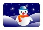 Afbeelding winterlandschap met sneeuwman