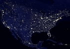 Foto aarde s nachts - verstedelijkte gebieden Noord Amerika