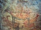 Foto muurschildering in grot