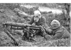 Foto soldaten met machinegeweer en gasmasker