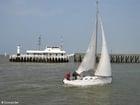 Foto staketsel met zeilboot
