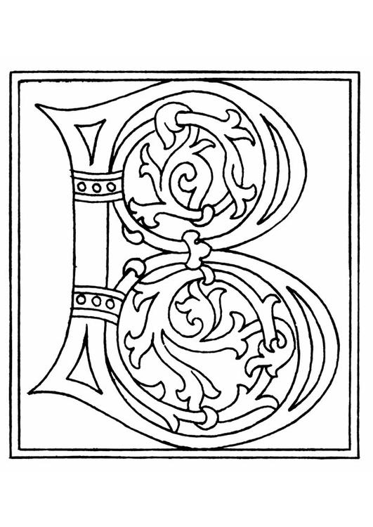 Kleurplaten Middeleeuwse Letters.Kleurplaat 01a Alfabet B Gratis Kleurplaten Om Te Printen