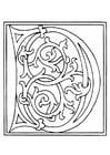 Kleurplaat 01a. alfabet D