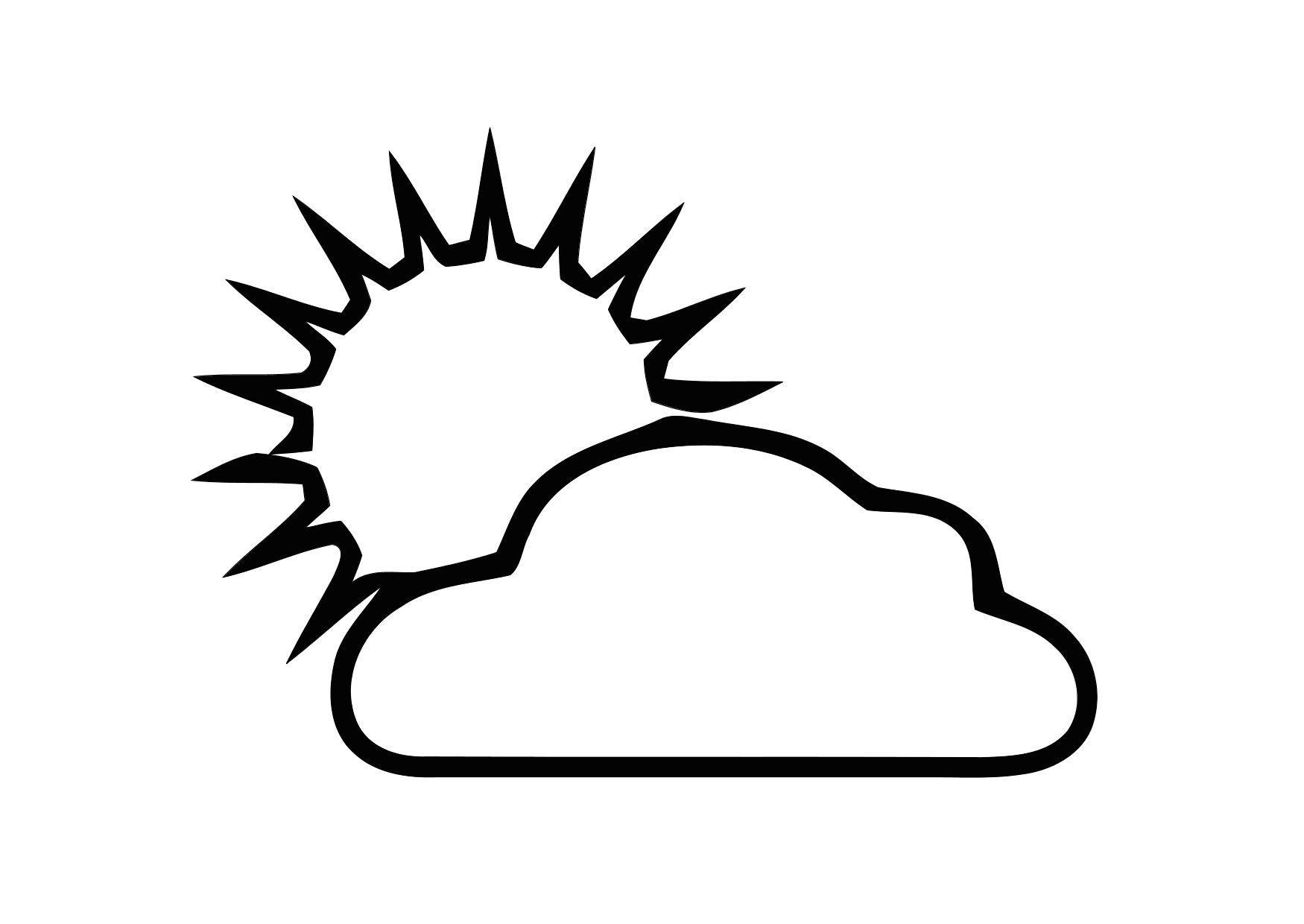 kleurplaat 01a bewolkt met zon gratis kleurplaten om te