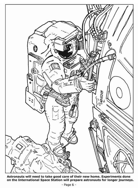Kleurplaten Ruimtestation.Kleurplaat 06 Astronauten In Het Ruimtestation Afb 4199