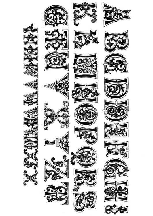 Kleurplaten Middeleeuwse Letters.Kleurplaat 11e Eeuw Letters En Nummers Gratis Kleurplaten