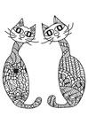 Kleurplaat 2 katten