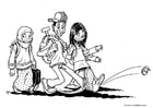 Kleurplaat 3 kinderen - allochtoon