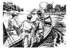 Kleurplaat 3 mannen in een boot
